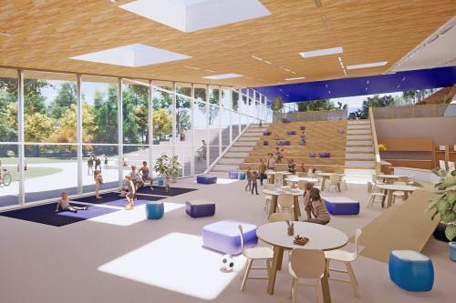 La nouvelle génération d'écoles québécoises intégrera des aires communes favorisant la sociabilisation - Image : Vincent Leclerc Architecte